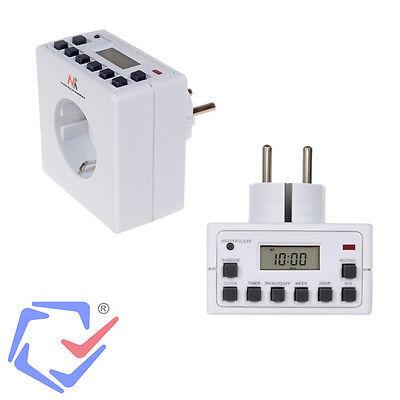 Digitale Zeitschaltuhr Display 10 Programme Akku Schalter Timer Steckdose MCE30G