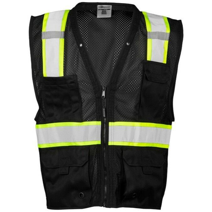 ML Kishigo Reflective Mesh Safety Vest with Pockets, Black