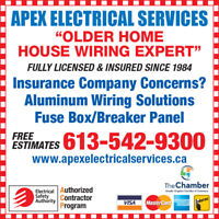 Older Home Wiring Expert since 1971 Pay Me Later 0% interest