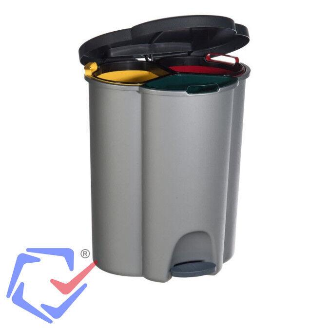 Dreifach Abfalleimer Recycling Mülleimer Mülltrenner Müllsammler 40L Curver grau