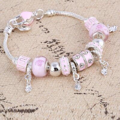 Rosa Kristall Charme Silber Armbänder für Frauen mit Murano Glasperlen
