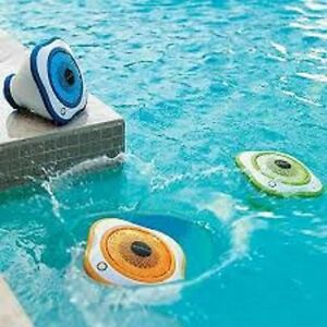 Ipod android wireless waterproof floating pool outdoor 3 speakers w led lights ebay for Waterproof speakers for swimming pools