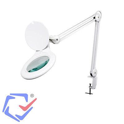 Lupenlampe mit Lupe Lupenleuchte mit Tischklemme Kaltlicht LED 5 Dioptrien