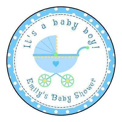 Its a boy Baby shower  boy carriage blue Favors Tags/Stickers label sticker](Its Boy)
