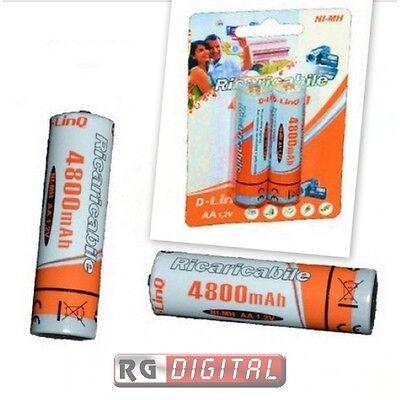10 BATTERIE STILO AA RICARICABILI DA 4800 mAH Ni-MH4800 PILE CONFEZIONI BATTERY