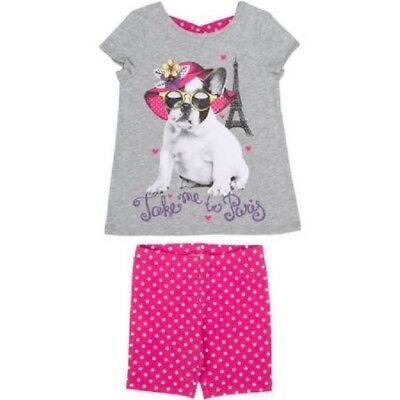 Faded Glory Girls' Criss Cross Bulldog Top Take Me To Paris Short Set Size 6, 7