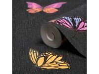 2 Rolls of Black glitter wallpaper with coloured butterflies