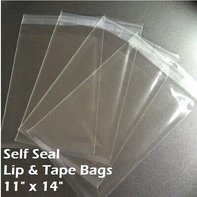 11 X 14 Clear Recloseable Self Seal Adhesive Lip Tape Plastic Cello Bags