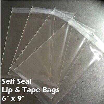 6 X 9 Clear Recloseable Self Seal Adhesive Lip Tape Plastic Cello Bags