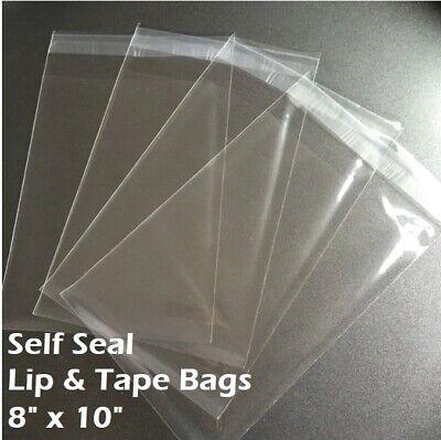 8 X 10 Clear Recloseable Self Seal Adhesive Lip Tape Plastic Cello Bags