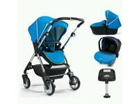 Nearly new Silver cross wayfarer (sky blue) pushchair+ carrycot+car seat