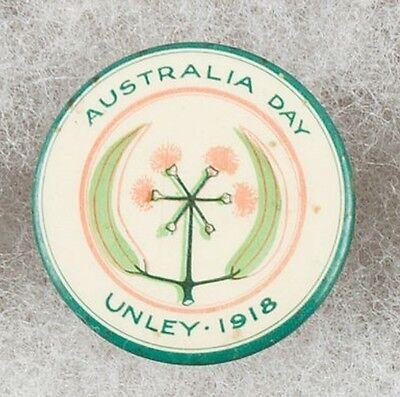 World War One Australia Day Unley 1918 Pinback Button Badge -  Very Scarce