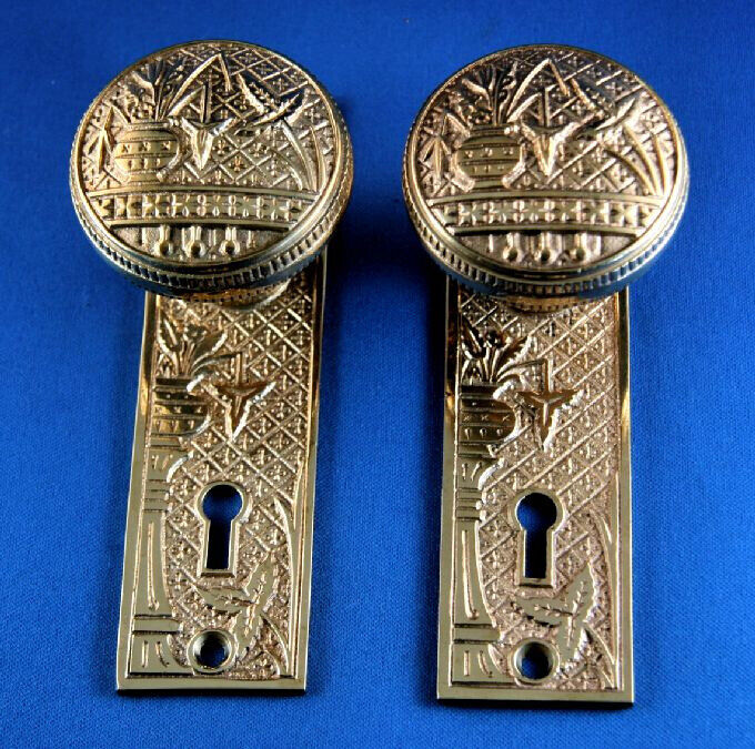 Antique Eastlake Brass Broken Leaf Doorknob and Backplate Set Lockwood c. 1887