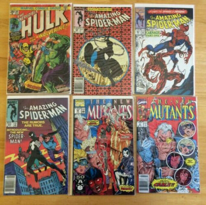 Comic GRAB BAG x5 Hulk 181 Spiderman 252 300 361 New Mutants 87 98 MARVEL DC KEY