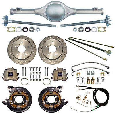 CURRIE 55-59 CHEVY 5-LUG TRUCK REAR END & DRILLED DISC BRAKES,LINES,CABLES,AXLES