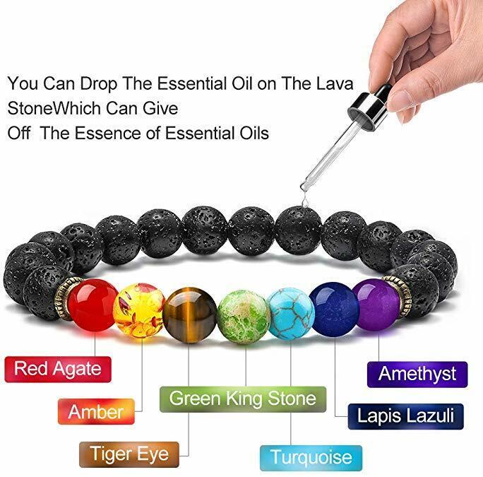 7 Chakras Men Women Bracelet Aromatherapy Oil Diffuser Bracelets Yoga Bracelets
