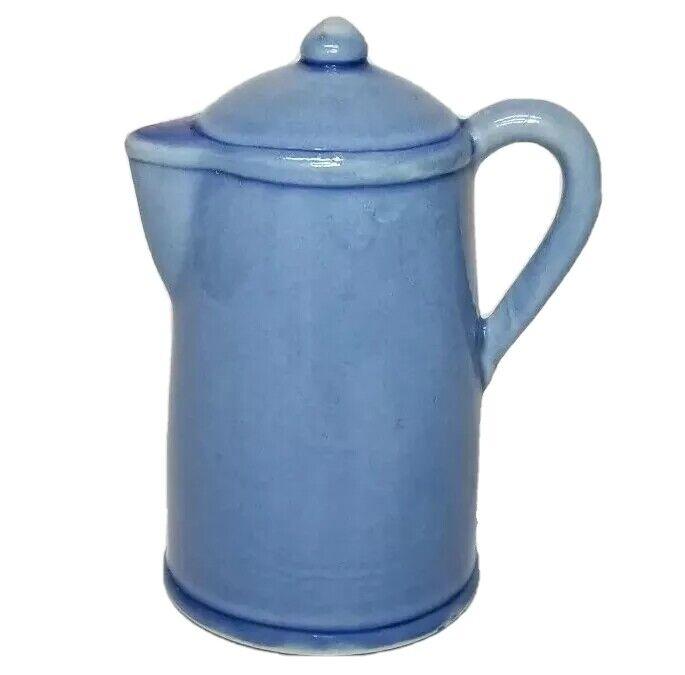 "Jasco Coffee Pot Bell Blue Porcelain  Made in Taiwain, 4 1/2"" tall"