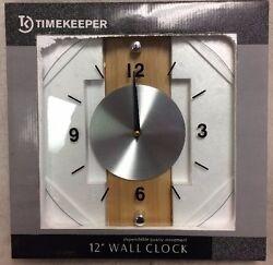 NEW Timekeeper Products LLC Round 12.5 Clock Glass/Wood