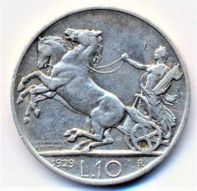 Italien 10 Lire 1929 **FERT** VITTORIO EMANUELE III., seltenes Jahr