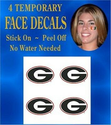 Georgia Bulldogs Face & Body Decals Temp Tattoos Set of 4 NCAA Licensed  - Georgia Bulldog Tattoos