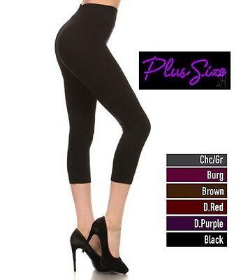 Seamless Capri Leggings - Women Plus Size Capri Seamless Leggings Cropped Stocking 1X 2X