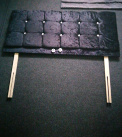 Black Crushed velvet diamond double head board