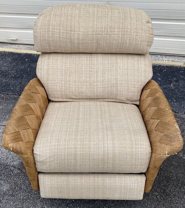 Large Rattan Wicker Fabric Recliner Natural Color 2 Tier Waterfall Back