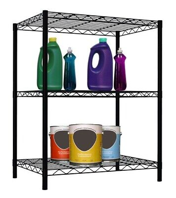 Black Basic Wire Shelves - Home Basics NEW 3 tier wire shelving storage unit, 32 in black - WS00693