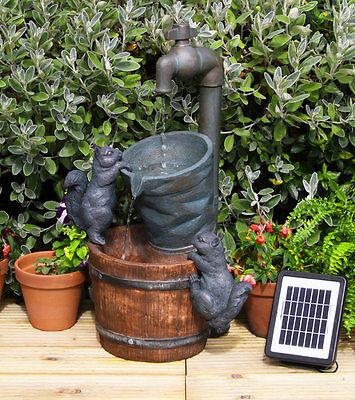 Tap Bucket Barrel Water Feature Fountain Cascade Waterfall Solar Powered Garden
