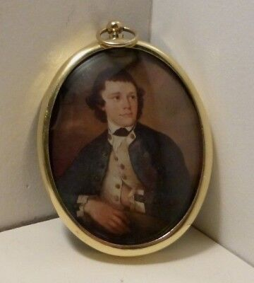 Miniature portrait of young midshipman in a brass frame