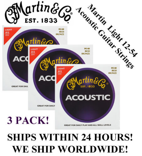 ** 3 Sets - Martin M140 Acoustic Guitar Strings Light 80/20 Bronze **