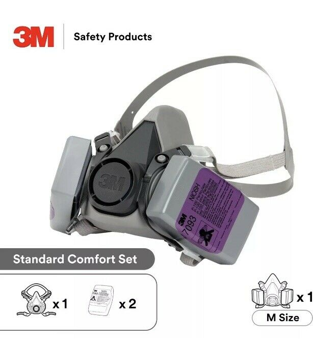 Genuine 3M 6200 Reusable Complete with Pair 7093 P100 Filter Set (Size Medium)
