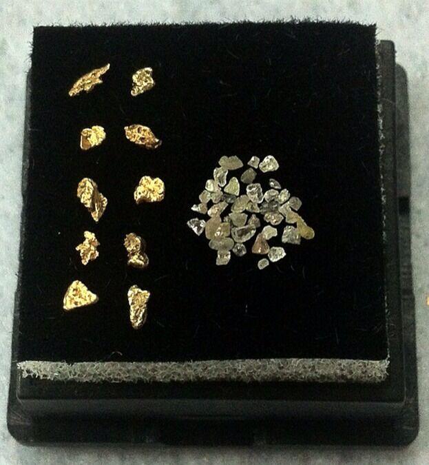 NATURAL ALASKAN GOLD NUGGETS AND DIAMOND CHIP LOT.   L@@k