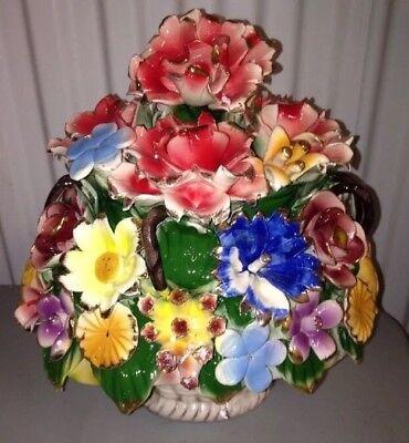 "Capodimonte Style Flower basket 12"""