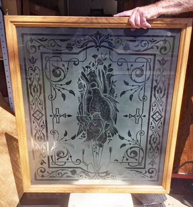 Antique WINDOW / DOOR ETCHED FROSTED GLASS - ENGLAND