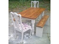 FARMHOUSE TABLE 2 CHAIRS and 2 benches SOLID TABLE app 4ft x 3ft SHABBY CHIC