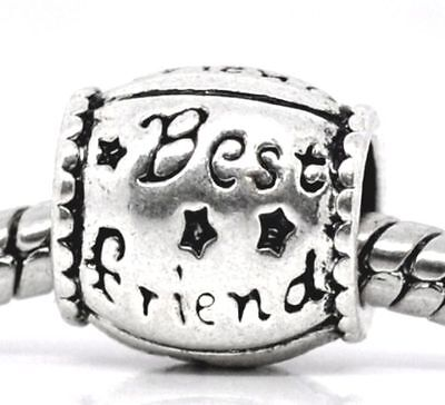 Best Friend BFF Gift Word Barrel Spacer Charm for European Bead Slide