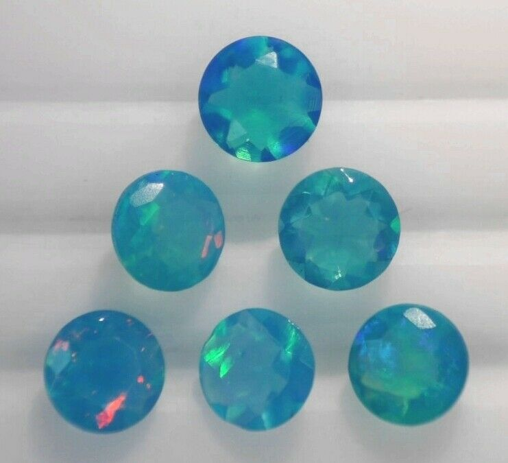PARAIBA OPAL 4.00 MM ROUND CUT NEON BLUE COLOR ALL NATURAL SOLD PER STONE F-274