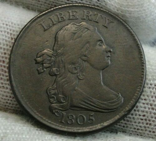 1805 Draped Bust Half Cent, Very Nice Coin, Free Shipping  (9530)
