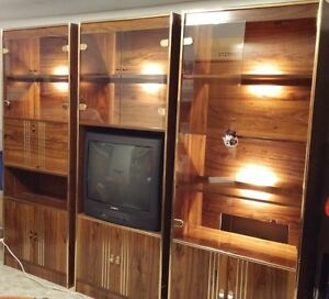 3 Piece Brown Wood Finish Wall Unit With Back Lights