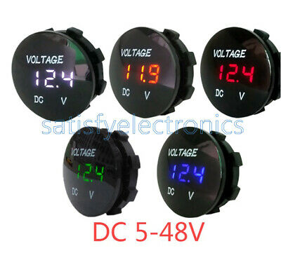 Dc 5-48v Waterproof Car Motorcycle Led Panel Digital Volt Voltage Meter Display
