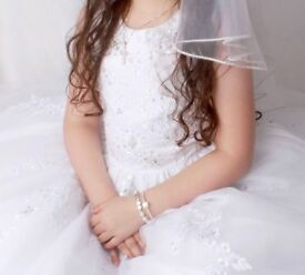 Carriage and Castles white beaded communion/ bridesmaid/ gala day dress Age 8 £150 Ono