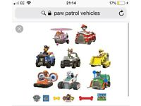 Wanted! Paw Patrol Vehicles