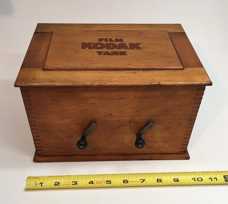 Extremely Rare Large Antique Wood Eastman Kodak Developing Tank