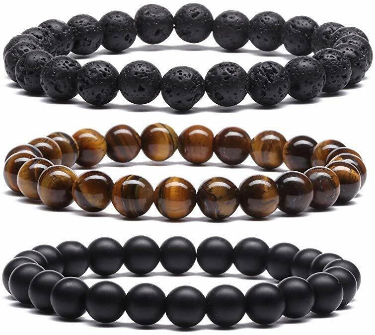 3 Pcs Tiger Eye Matte Onyx Lava Stone Beads Bracelets for Men Women Yoga Bangle