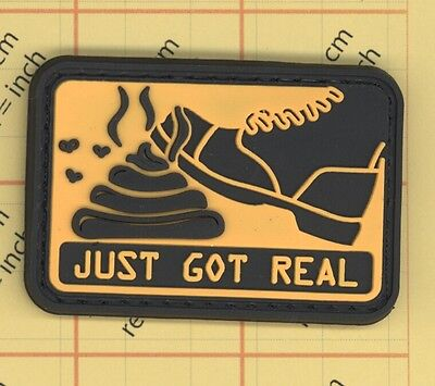 PVC S H I T JUST GOT REAL Morale Patch YELLOW COLOUR funny POO warning 12