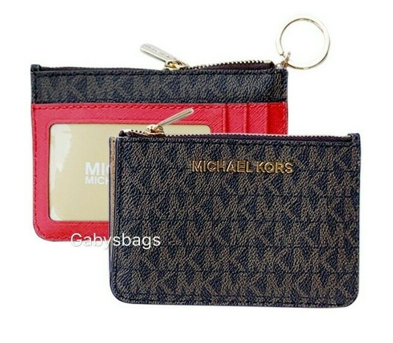 Michael Kors Jet Set Travel Small Top Zip Coin Pouch ID Holder Key Ring Wallet Brown/Sangria