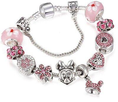 Disney Crystal Bracelet - Silver Lovely Pink Disney Micky Bracelet Charm Sliding Beads Crystal Gift Box BN