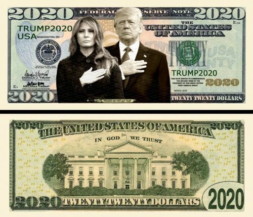 President and First Lady Trump 2020 Dollar Bill Play Funny Money + FREE SLEEVE