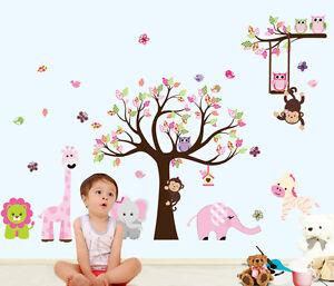 Cute Animals Monkey Tree Removable Kids Wall Sticker Vinyl Decal Nursery Decor